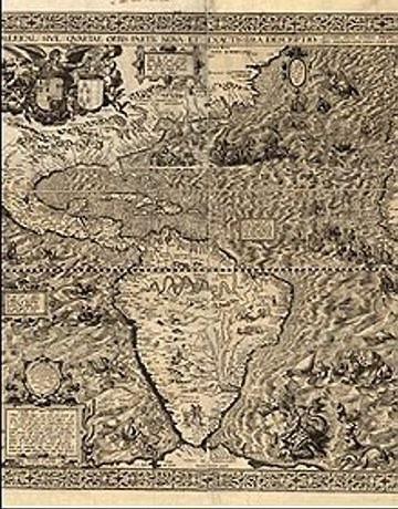 O mapa 'Uma descrição moderna e bastante precisa da América', feito por Diego Gutierrez em 1562, está no acervo da BDM (O Globo)