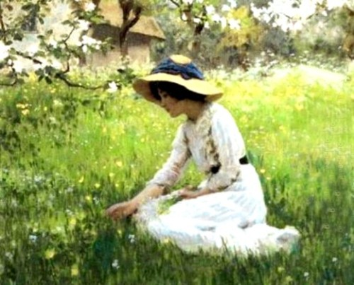<i>As Flores da Primavera</i>. <b>Arthur Hacker</b> - 1858-1919. Óleo s/tela