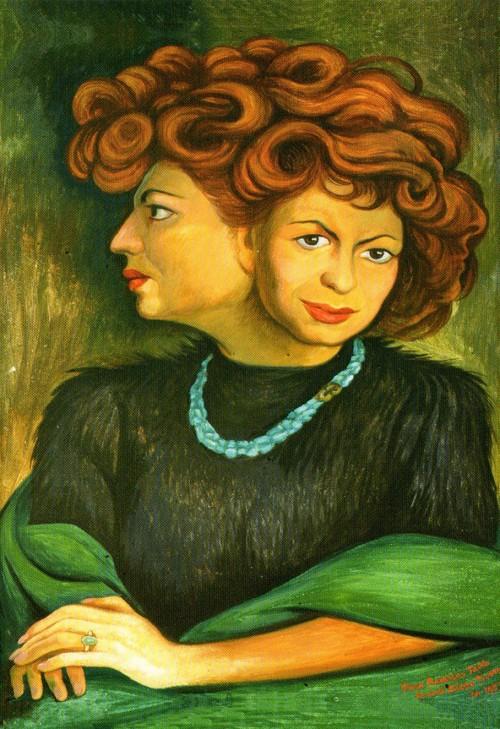 Retrato de Matilde - pintura de Diego Rivera. No lado direito,  o artista sugeriu o perfil de Neruda, formado pelos cabelos ondulados