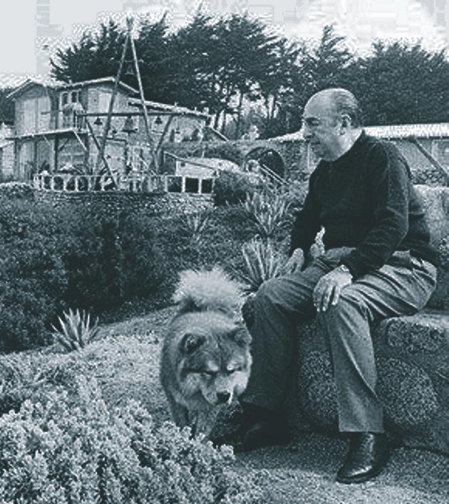 banco de jardim poesia:Neruda em um banco de pedra, voltado para o mar. Naquele momento ele