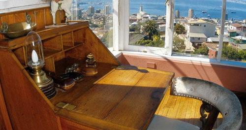 A mesa de trabalho do poeta,em La Sebastiana