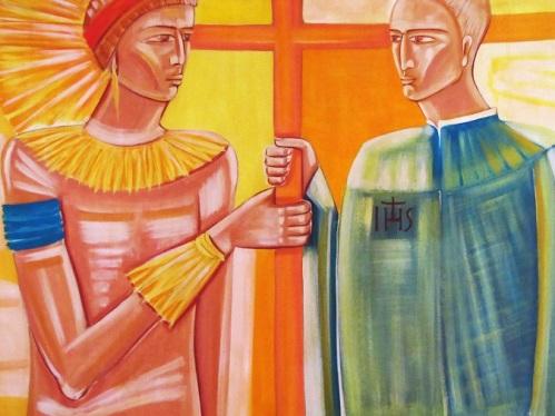 Cacique Tibiriça e José de Anchieta. Pintura de Claudio Pastro, acervo da sede do Anchietanum, em São Paulo, SP